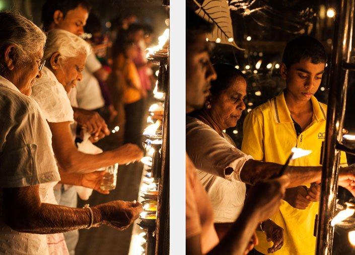إضاءة الشموع في المعبد